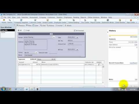 QuickBooks Training - Enter Bills - Item and Expense