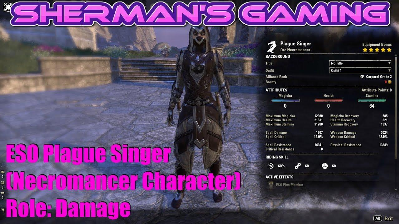 ESO Plague Singer (Necromancer Character) Role: Damage