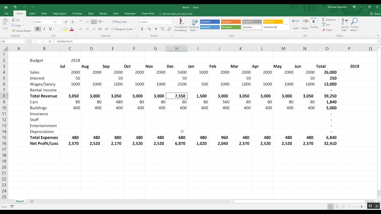 budgeting tools ep1 creating a simple budget in excel youtube