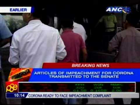 Articles of impeachment arrive at the Senate