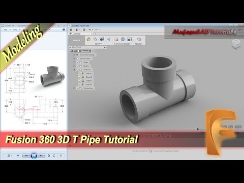 Fusion 360 Design 3D T Pipe Modeling...