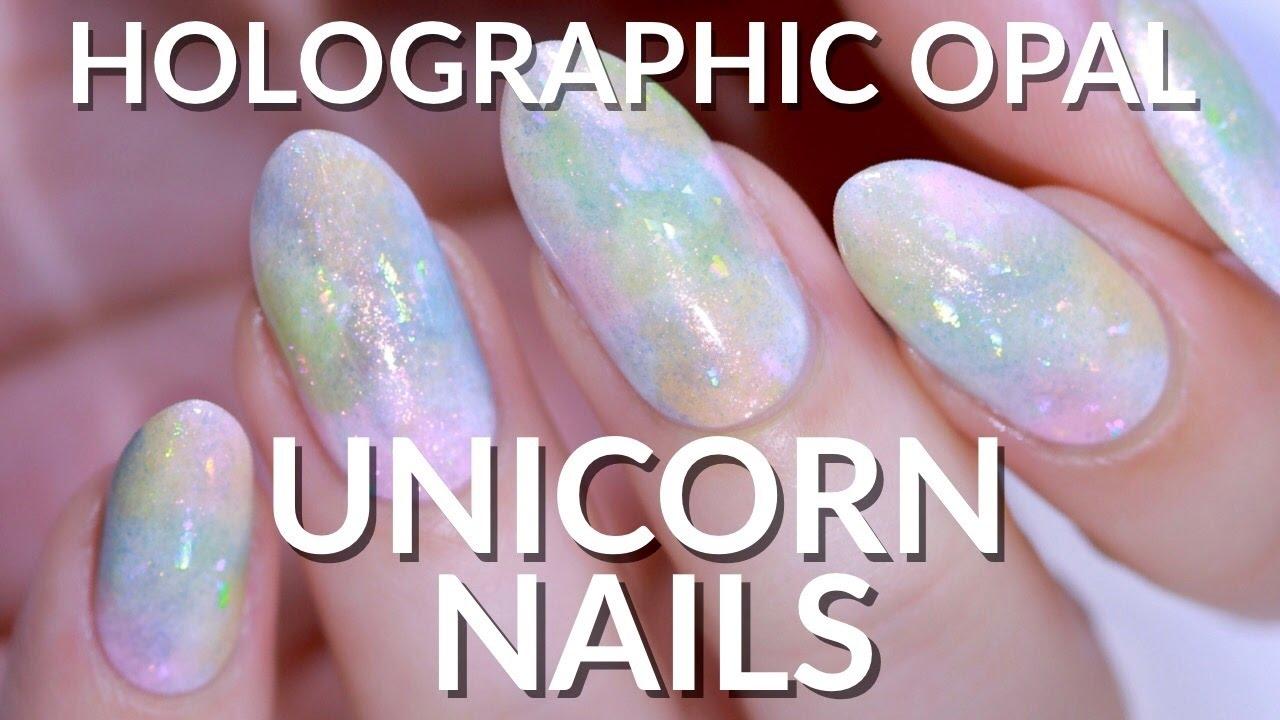 EASY HOLOGRAPHIC OPAL UNICORN NAIL ART (HOLO FOIL) - YouTube