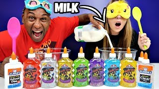 DADDY CHEATED!! Blindfolded Slime Challenge Parents Edition