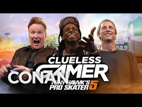 "Clueless Gamer: ""Tony Hawk's Pro Skater 5"" With Tony Hawk & Lil Wayne  - CONAN on TBS"