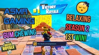 Asmr Gaming 😴 Fortnite Relaxing 1st Win Season 2! Gum Chewing 🎧🎮 Controller Sounds   Whispering 💤