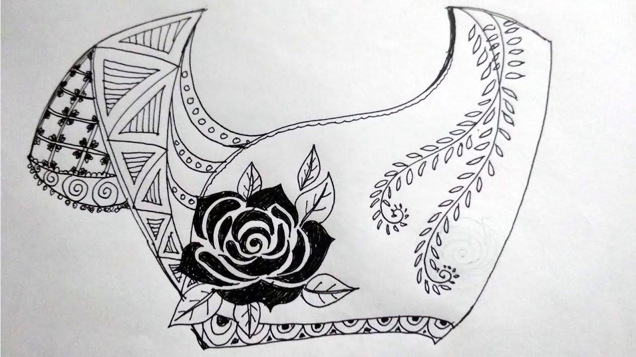 Costume making sketch pencil drawing ideas about rose flower back neck design blouse bestofux