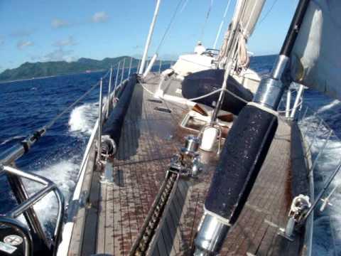 Sailing from Raiatea to Bora Bora in the French Polynesia