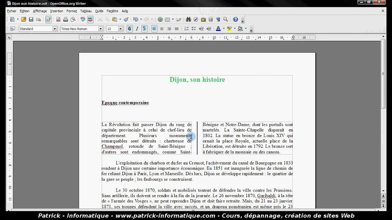 Tuto cr er des colonnes writer 3 youtube - Comment faire un organigramme sur open office writer ...
