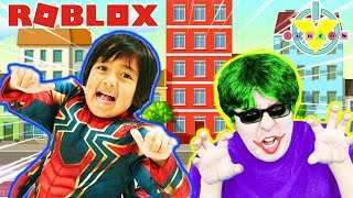 RYAN VS. DADDY SUPERHERO TYCOON ! HERO BATTLE IN ROBLOX ! Let's Play !