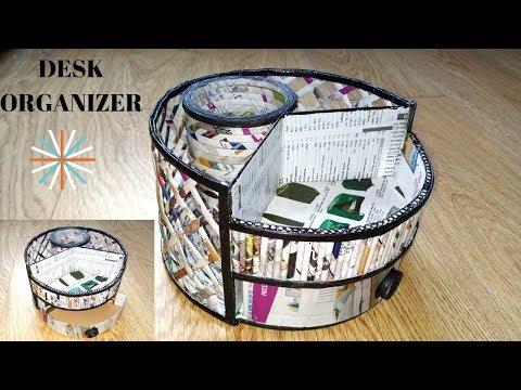 How to make a stationary/ desk organizer using newspaper||Paper craft ||Iris Craft Corner 46