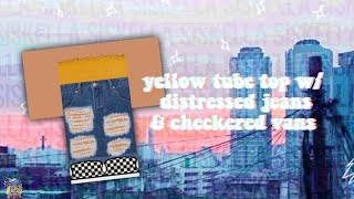 ROBLOX Speed Design: Yellow Tube Top w Distressed Jeans & Checkered Vans Siskella
