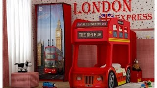 Двухъярусная кровать машина в виде автобуса - детская мебель , интернет-магазин
