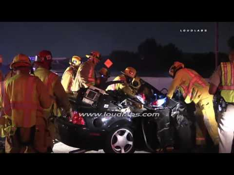 Roll Over Traffic Collision on the 91 FWY / Compton  RAW FOOTAGE