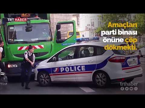 Paris'te iki çöpçüden ilginç protesto girişimi