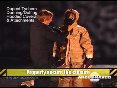 Donning Tychem Hooded Coverall w Gloves Overhood