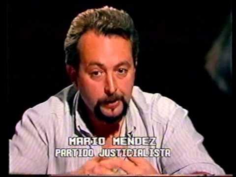 Gustavo Alvarez y Mario Mendez en Canal 5 de Olavarria - elecciones 1990