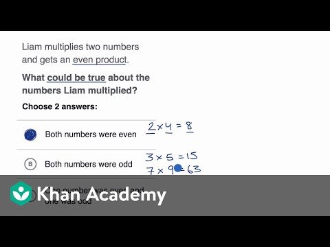 Examples thinking about multiplying even and odd numbers