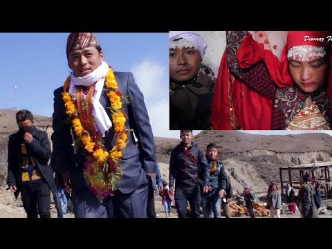 Rural Nepali traditional wedding  - Groom is going to Bride house with villagers to carry her  ...