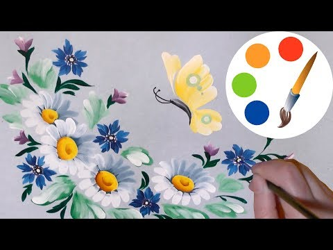 🦋🌼Butterfly and White Daisies 🌼🦋 by a round brush, design#1