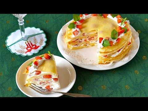 EASY Christmas Strawberry Mille Crêpe Cake 簡単!苺のクリスマスミルクレープの作り方 - OCHIKERON - CREATE EAT HAPPY