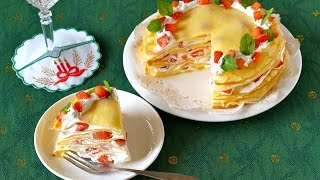 EASY Christmas Strawberry Mille Crêpe Cake 簡単!苺のクリスマスミルクレープの作り方 - OCHIKERON - CREATE EAT HAPPY