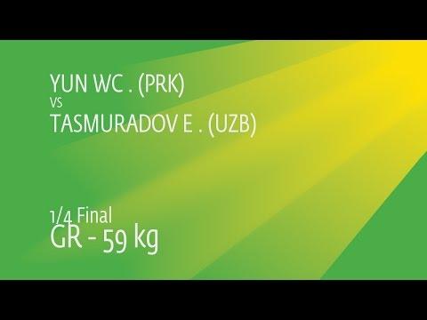 1/4 GR - 59 Kg: E. TASMURADOV (UZB) Df. W. YUN (PRK) By TF, 9-0