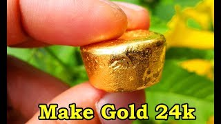 How to make gold 24k. Teach process gold refining 99.99%. tips refine gold scrap fine gold recovery.