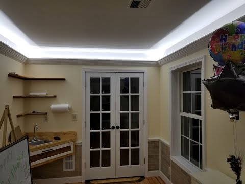 How to design and install crown molding with indirect LED lighting for less than $125..
