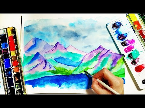 Watercolor Mountains Landscape Tutorial - Easy Painting For Beginners \ ASMR Drawing