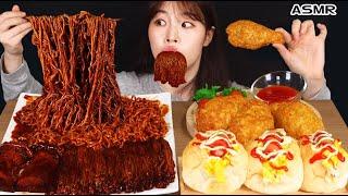 ASMR MUKBANG| 직접 만든 짜짜로니 & 양념치킨 핫도그 먹방 & 레시피 FRIED CHICKEN AND HOT DOG EATING