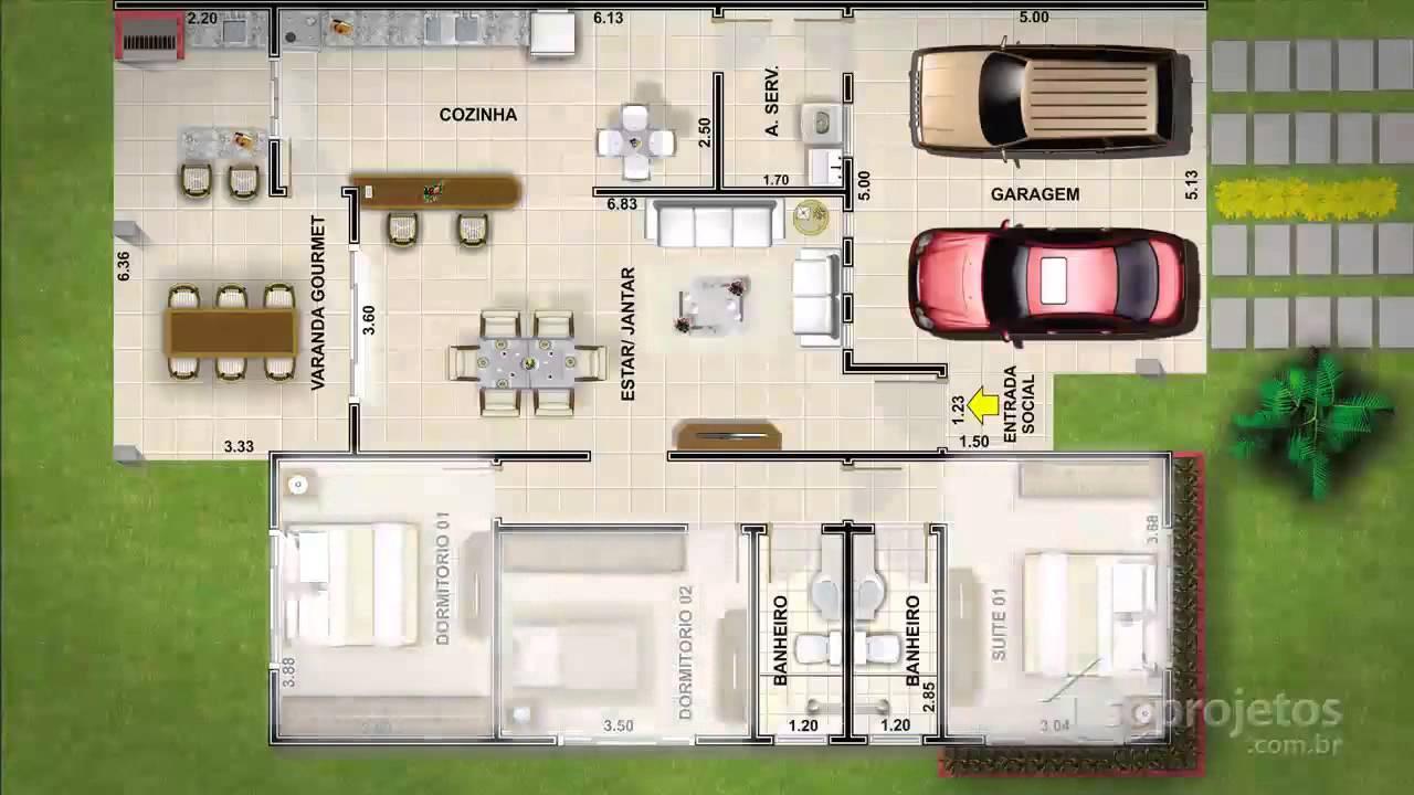 Dicas de projetos de casas modelo t rrea com 3 quartos e for Casas modernas de 70m2
