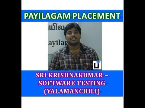 Sri Krishnakumar(Yalamanchili) - Payilagam Placement Update - Software Testing Training In Chennai