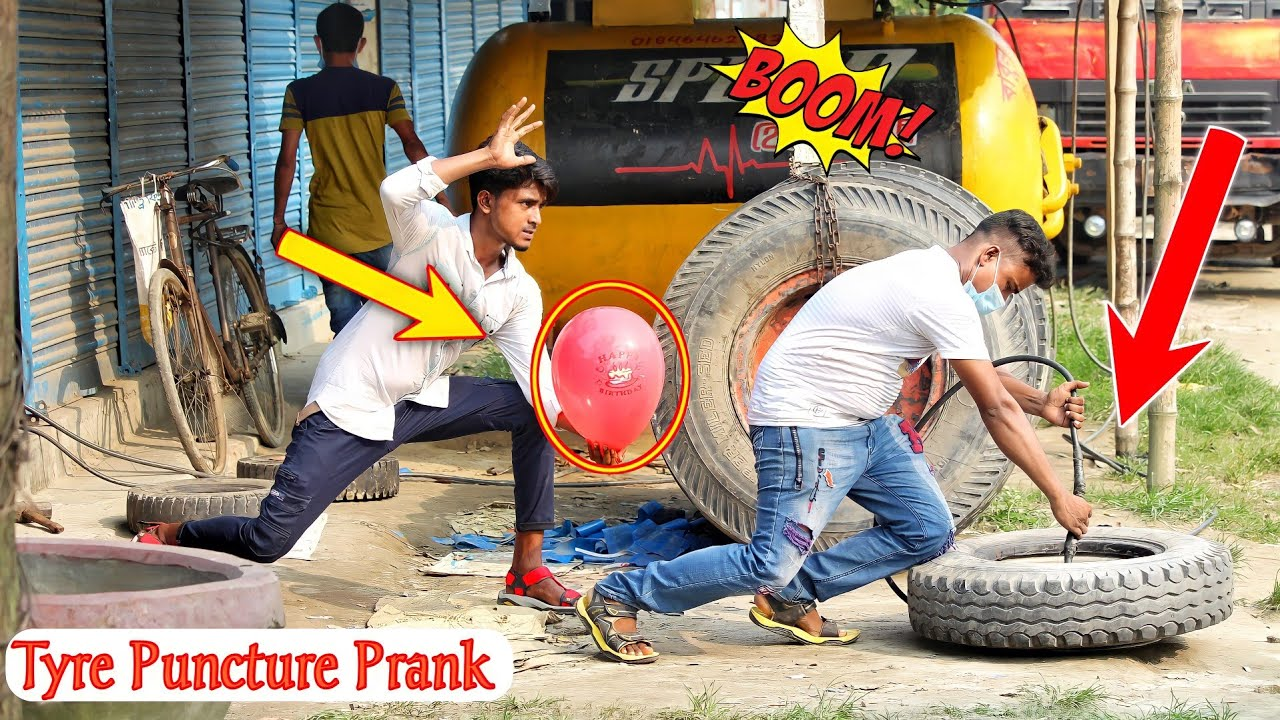 Update Tyre Puncture Prank With Popping Balloons | Watch The REACTION with Popping Balloons prank
