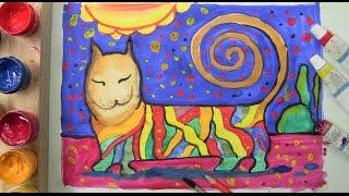 Как нарисовать кота. Уроки детям.