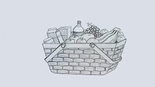 How to draw a food basket step by step with pencil