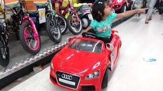 Amazing Little Girl Goes Toy Shopping at Toys R Us Part 1   Spiderman Batman Power Rangers Cars
