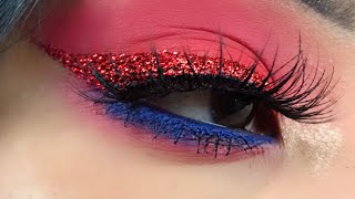 RED GLITTLER WING 4TH OF JULY MAKEUP TUTORIAL | STEPHANY FLAMENCO