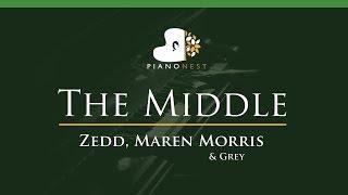 Zedd, Maren Morris & Grey - The Middle - LOWER Key (Piano Karaoke / Sing Along)