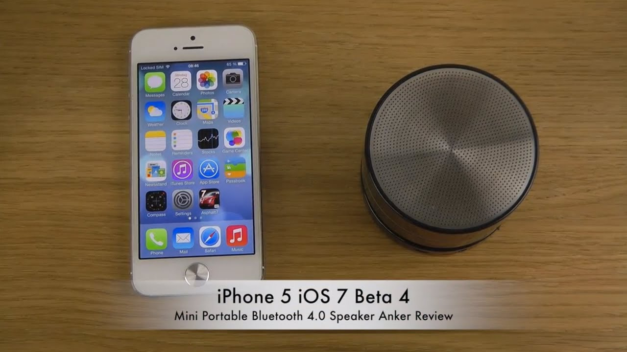 iphone 5 ios 7 beta 4 mini portable bluetooth 4 0 speaker anker review youtube. Black Bedroom Furniture Sets. Home Design Ideas