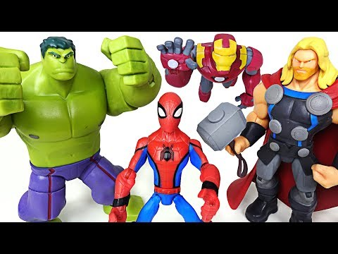 It blows dinosaurs in one punch! Disney Marvel Toybox Hulk, Spider Man, Iron Man! - DuDuPopTOY