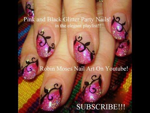 Nail Art Design Diy Pink Diagonal French Glitter Amp Black Vine Nails Tutorial Youtube