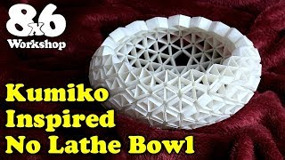 Bowl Without a Lathe Challenge - Japanese Kumiko Inspired Bowl Project [Subtitles Available] #BWALC
