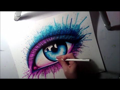 Semi Realistic Eye Watercolor and Marker Painting Time Lapse Painting by Carissa Rose
