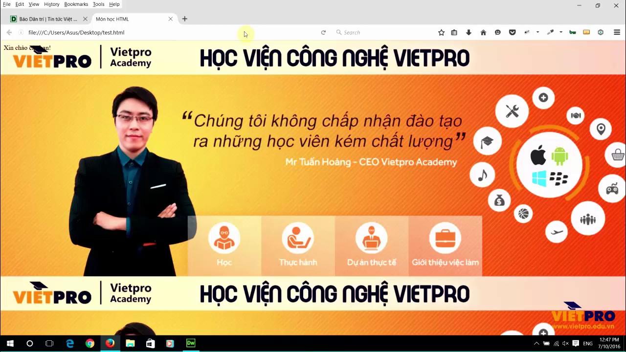 HTML 07 – Xuống dòng trong HTML