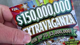 """LOVE THIS TICKET!!..$150,000,000 """"EXTRAVAGANZA"""" LOTTERY TICKET SCRATCH OFF!! thumbnail"""
