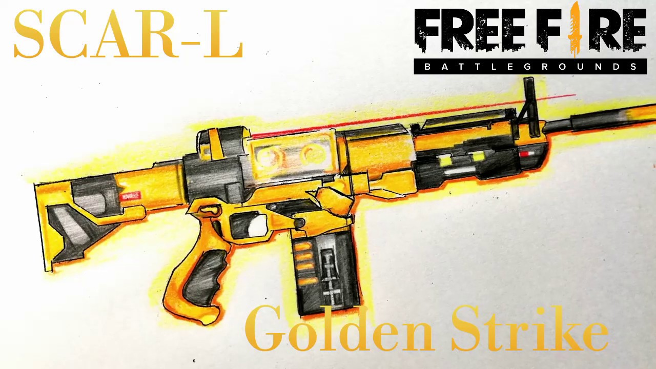 Vẽ Scar Công Nghệ Vàng || HOW TO DRAW SCAR GOLDEN STRIKE || Garena Free Fire