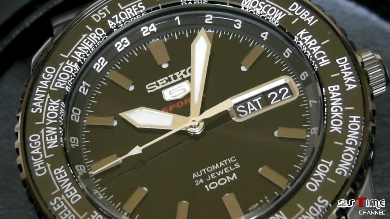 2s Time Seiko 5 Sports World Timer Automatic Srp129k1