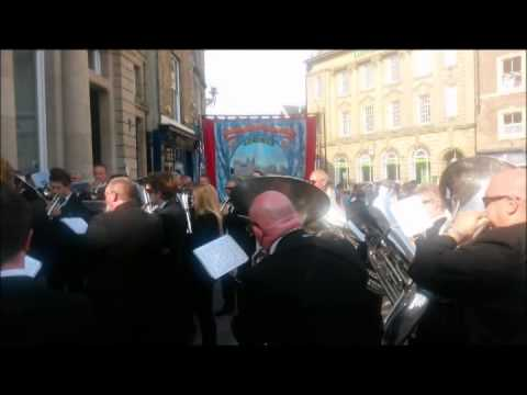 Deaf Hill Banner Group & Knottingley Silver Band at Durham Miners Gala July 12th 2014