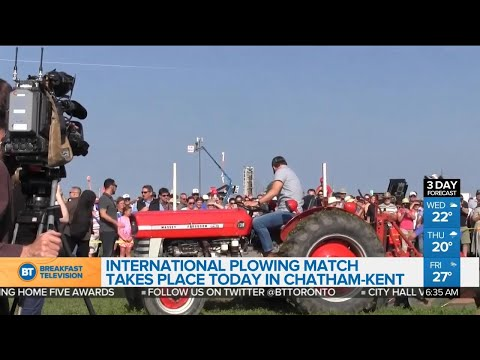 Politicians taking part in International Plowing Match