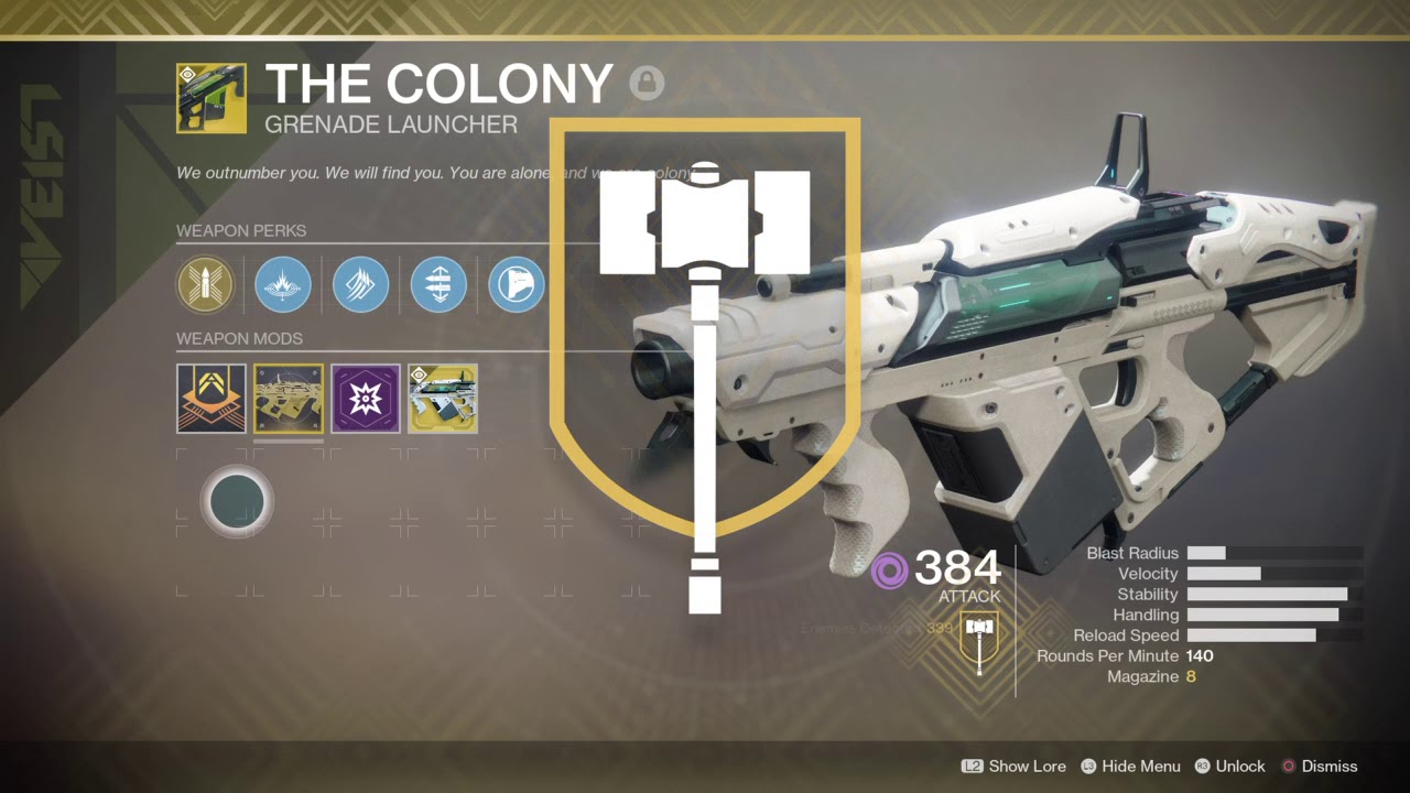 Destiny 2 Legend Of Acrius Catalyst Drop Rate Destiny 2 The Colony Catalyst Masterwork Farm Youtube